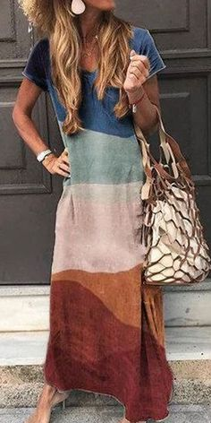 Feb 2020 - Fashion Slim Fit Stitching Color Short Sleeve Casual Maxi Dress Source by Dresses Cute Dresses, Dresses For Work, Dresses With Sleeves, Elegant Dresses, Dresses Dresses, Formal Dresses, Wedding Dresses, Awesome Dresses, Sleeveless Dresses