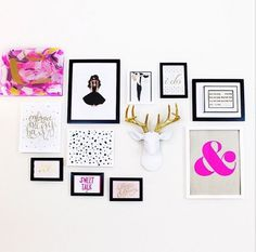 We are loving this hot pink & gold gallery wall in the home office of our client @fromshelleywithlove! Such a bright & fun space!
