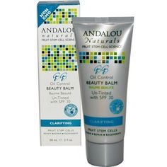 Andalou Oil Control SPF 30 (un-tinted) $24.00  Ultimate 3 in 1 BB cream blends Fruit Stem Cells, superfruit antioxidants and mattifying hydration w/broad spectrum protection to speed cellular renewal, diminish pores and excess oil, and defend against UVA/UVB photo-aging for a clear and healthy complexion.  2oz.