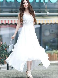Brand New V  Neck Asymmetrical Hem White Maxi Dress