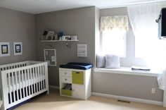 Baby Boy Modern Nursery, Tried to keep in modern, fresh & contemporary, but still a little bit baby :)  The color pallet is grey & white with accents of navy, chartreuse green & butter yellow., Nurseries Design