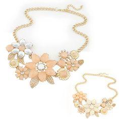 2016 nouveau à la mode lumineux fleur collier charme strass collier et pendentif cadeau Chaîne Choker Bib Déclaration Collier