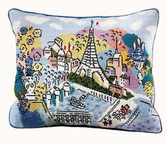 Paris EIFFEL TOWER Hand-painted Needlepoint Canvas 13.5 X 15.75 on 13-mesh - also available on 18-mesh - free s&h to the U.S.