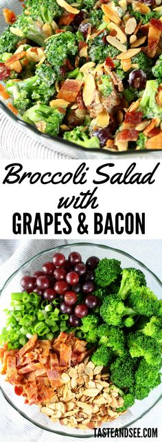 Broccoli Salad with Grapes and Bacon - a delicious salad that can even double as a meal. With blanched #broccoli, red grapes, sliced almonds, green onions, yummy bacon, and the most delicious creamy dressing! This Stealthy Healthy side dish will definitely be on repeat in your weekly meal plans from now on. https://tasteandsee.com