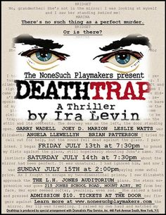 NoneSuch Playmakers - Deathtrap - 2018 A Perfect Murder, J Jones, Will Smith, It Hurts, It Cast, Writing, Being A Writer