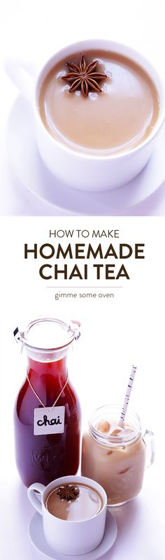 This Homemade Chai Tea recipe is easy to make, and is perfect for hot chai or iced chai. | gimmesomeoven.com