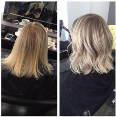 Before & after - from tired brassy blonde to glossy ash blonde with root stretch