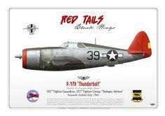 """P-47D, 1Lt Gwynne Peirson, 302 FS, 332 FG, 1944. """"Red tails"""""""