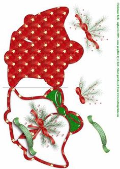 - A double Christmas bell shpaed card with pieces. Christmas Decoupage, Christmas Card Crafts, 3d Christmas, Homemade Christmas Cards, Christmas Templates, Christmas Cards To Make, Christmas Bells, Christmas Projects, Handmade Christmas