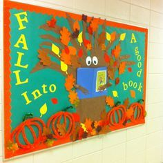 """"""" with owls and autumn leaves is a cute idea for an autumn reading bulletin board display. with owls and autumn leaves is a cute idea for an autumn reading bulletin board display. Genre Bulletin Boards, Thanksgiving Bulletin Boards, Valentines Day Bulletin Board, November Bulletin Boards, Christian Bulletin Boards, Interactive Bulletin Boards, Halloween Bulletin Boards, Winter Bulletin Boards, Preschool Bulletin Boards"""