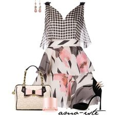 A fashion look from September 2014 featuring Delpozo dresses, Sergio Rossi sandals y Betsey Johnson handbags. Browse and shop related looks.