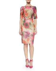Half-Sleeve Floral Lace Boucle Sheath Dress  by Rickie Freeman for Teri Jon at Neiman Marcus.