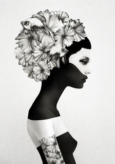 Marianna - Black and White Woman Illustrated Print Illustration Art Flowers