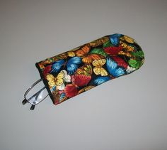 Butterfly eyeglass case - bright color quilted eye case - green orange pink yellow blue black - felt lined - coworker gift - desk accessory by ExpressionQuilts on Etsy