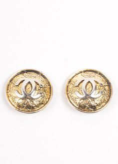 "Gold Toned ""CC"" Logo Oversized Round Earrings"