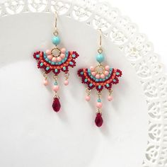 Fashion earrings, Colorful chandelier earrings, Festival earrings for women, Swarovski crystal boho chic earrings, Funky earrings Funky Earrings, Turquoise Earrings, Women's Earrings, Beaded Jewelry, Handmade Jewelry, Jewellery, Diamond Chandelier Earrings, Swarovski Crystal Earrings, Bead Weaving