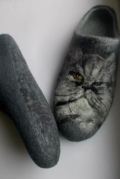 Women home slippers with your family pet photo by ShimaFelt