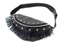 Black leather hip bag. Waist bag made of soft genuine leather with tassels and studds. Studded hip bag handmade by Anardeko