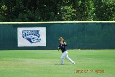 Camping under a fly ball at the Perfect Game Showcase in East, Cobb Georgia July 2012
