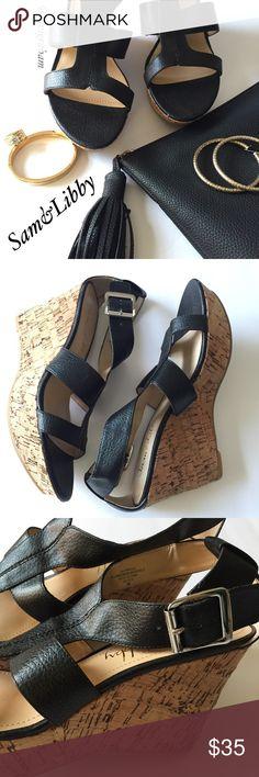 Sam & Libby Black Sandal NEW Cute & comfy Sam & Libby wedge sandal.  NEW - never worn   Color : black (silver buckles) Size : 9 Sam & Libby Shoes Sandals