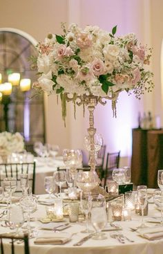 Featured Photographer: CHARD Photography, Featured Event Design: Blush Botanicals; Breathtaking pink and white rose wedding reception centerpiece