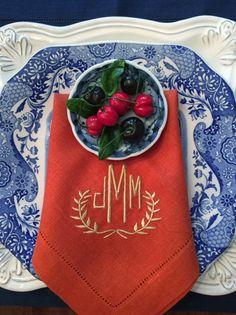 Brigette Signature Colour Monogrammed Linen Napkins-Table Linens-www.bellalino.com
