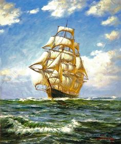 old art with ships on the sea - Google Search