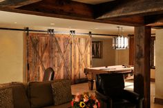 Rustic Lodge-Style Basement - traditional - basement - dc metro - by Sun Design Remodeling Specialists, Inc.
