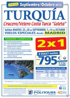 "TURQUÍA : Cru/Velero C.Turca""Goleta"", sal. 14 de Octubre dsd Mad (8d/7n) p.f. 2 pax dsd 1.125€ (2x1) ultimo minuto - http://zocotours.com/turquia-cruvelero-c-turcagoleta-sal-14-de-octubre-dsd-mad-8d7n-p-f-2-pax-dsd-1-125e-2x1-ultimo-minuto/"