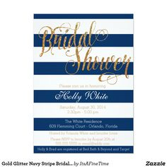 "Gold Glitter Navy Stripe Bridal Shower Invitation 5"" X 7"" Invitation Card"