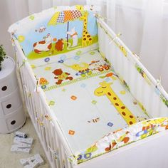 5pcs Children Bedding Set Piece Crib Bumper Crib For Baby, Bright Promotion 4bumpers+sheet