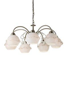 VERA Redo - závesná 7-ram.lampa rustik - mosadz+sklo+krištáľ