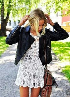Leather and crochet