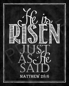 Easter Scripture Art - Matthew 28:6 Chalkboard Style