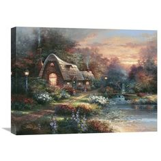 Global Gallery 'Country Quiet' by James Lee Original Painting on Wrapped Canvas Size: