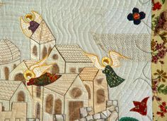 CITY OF ANGELS, Art Quilt, Home Decor, Wall Decor, Gift Idea, Medieval Style. $600.00, via Etsy.