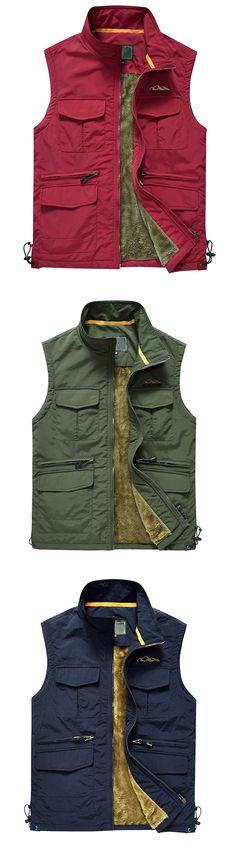 1c149e3a684 US 33.86 Plus Size Outdoor Sport Thicken Fleece Multi Pockets Photographic  Ad Vest for Men Outdoor
