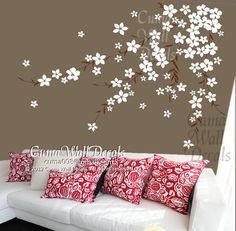 flowers wall decals cherry  blossom  vinyl wall decals girl nursery room wall decals sticker children wall decal- cherry blossom Z168 cuma. $59.00, via Etsy.