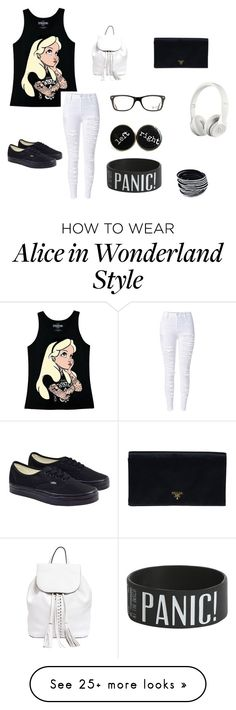 """""""Alice"""" by jmcwilliams2003 on Polyvore featuring Disney, Vans, Rebecca Minkoff, Prada, Ray-Ban and Beats by Dr. Dre"""