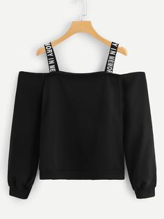 To find out about the Cold Shoulder Letter Taped Sweatshirt at SHEIN, part of our latest Sweatshirts ready to shop online today! Cute Comfy Outfits, Pretty Outfits, Stylish Outfits, Cool Outfits, Girls Fashion Clothes, Teen Fashion Outfits, Outfits For Teens, Fashion 2016, Winter Fashion