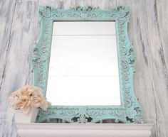 """Teal Blue Mirror FRENCH COUNTRY Home MIRROR For Sale Syroco Vintage Blue Framed Shabby Chic 29""""x22"""" Bathroom Mirror Decorative Unique Mirror. $189.00, via Etsy."""