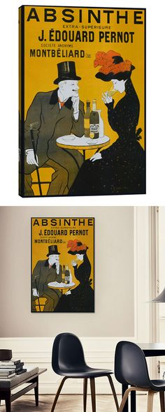 This vintage-style poster pays homage to the Emile Pernot absinthe distillery. Crafted by hand in the USA, this design is made with 100% North American pine wood stretcher bars and archival Giclée inks...  Find the Pernot Distillery Absinthe Poster, as seen in the 1920s Paris Collection at http://dotandbo.com/collections/1920-s-paris?utm_source=pinterest&utm_medium=organic&db_sku=120294