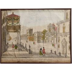 "Antique  Vue d'Optique  or "" Perspective View  Engraving / Print of Napoli ! * Neaple / Naples / Napoli * The term ""vue d'optique or ""perspective view"