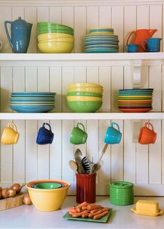Brighten Up Your Kitchen by Decorating with Multi-Colored Dinnerware - Red Barn Blog