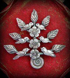 """Arbol de Vida """"Esperanza"""" (tree of life """"hope"""") brooch-  ©2012 Lorena Angulo -  PMC3 (pure silver)"""