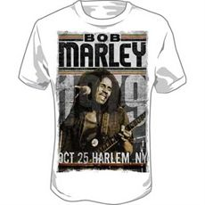 Bob Marley Harlem Men's T Shirt (White)     This whiteBob Marley Men's Tee features an image of Bob live on stage in Harlem, NY in 1979. Bob Marley is printed in black at the top with rasta stripes framing it. Under the image of Bob playing guitar, Oct 25 Harlem NY is printed using negative space font.    The classic look T-Shirt. Made of soft, durable 100% pre-shrunk cotton.