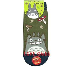 SOCKS - 23-25cm / 9-9.8in - Thick - SHORT - Mushroom - Green - Totoro - Studio Ghibli (new product 2016)
