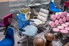 "The ""Seated History"" catwalk in the Herman Miller showroom at the Mart. Image…"