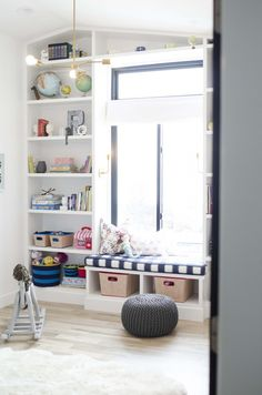 Caitlin Wilson Buffalo Check in Navy Fabric and British Bouquet Pillow Play Spaces, Kid Spaces, Built In Shelves, Built Ins, Creative Kids Rooms, Playroom Organization, Kid Beds, White Walls, Kids Bedroom