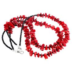 Double strand of beautiful highly polished chips and chunks of red Bamboo Coral set with sparkling real gem cut black Spinel set with a sterling silver hook clasp in a inch long necklace. More from this seller by putting gemjunky into search bar. Unique Necklaces, Handmade Necklaces, Beautiful Necklaces, Coral Jewelry, Beaded Jewelry, Bohemian Jewelry, Coral Accents, Onyx Necklace, Black Spinel